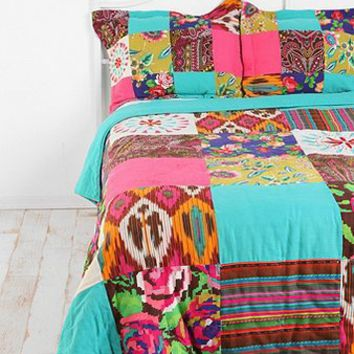 Floral Ikat Patchwork Sham - Set of 2