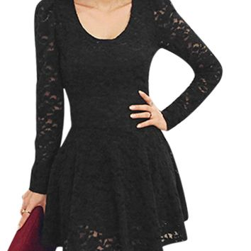 Women Scoop Neck Long Sleeves Casual Lace Skater Dress Black S