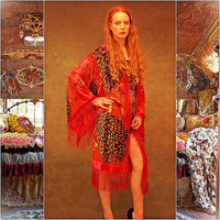gypsy fringed silk kimono / red peacock pattern duster with devore velvet / long and large boho jacket