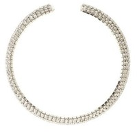 Curved Rhinestone Choker Necklace by Charlotte Russe - Silver