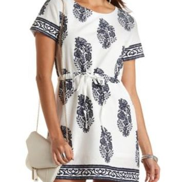 Lace Print Drawstring Cotton Dress by Charlotte Russe - White/Blue