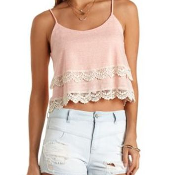 Layered Crochet-Trim Crop Top by Charlotte Russe