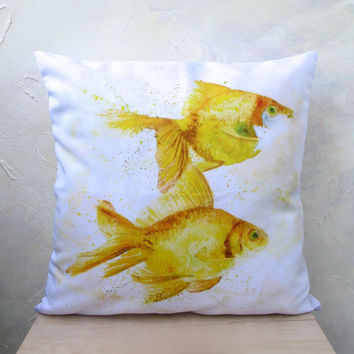 Free Shipping - Throw Pillow - The Decorative Cushion Cover - Gold Fishes, Watercolor Throw Pillows - Home Decor - pillow case