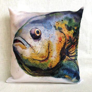 Free Shipping - Throw Pillow - The Decorative Cushion Cover - Fish - Watercolor  - decorative pillow case - Pet Portrait - Gift