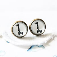 Black and White Giraffe  - Stud EARRINGS