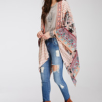 Abstract Print Embroidered Kimono