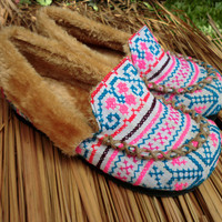 Hmong Embroidered Plush Lined Womens Slippers
