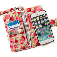 IPHONE WALLET FLOWER Design by Vintage Floral on Blue Purse Card Holder Sleeve iPhone 6 Plus Samsung s4 Galaxy Note 2 3 Wallet Pouch Bag