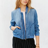 BDG Chambray Drapey Bomber Jacket- Vintage Denim Light