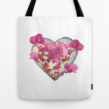 Heart Shaped with Flowers Digital Collage Tote Bag by DFLC Prints
