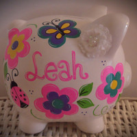 Personalized Hand Painted Piggy Bank With Flowers, Ladybug, and Butterfly