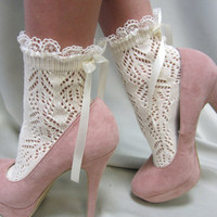 Paris peek a bow Lace socks for heels CREAM Baby doll, 80&quot;s inspired retro crochet lace socks flats or heels catherine cole studio