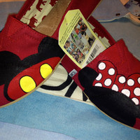 Mickey &amp; Minnie Mouse Disney Custom TOMS Shoes