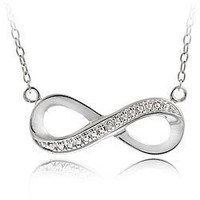 Sterling Silver Infinity Necklaces With Cubic Zirconia Friendship Love Symbol
