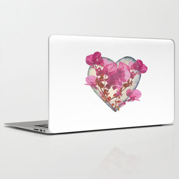Heart Shaped with Flowers Digital Collage Laptop & iPad Skin by DFLC Prints