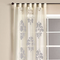 Ivory Damask Burnout Sheer Curtain | Window Treatments| Home Decor | World Market