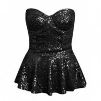 Sequin Black Strapless Peplum Top
