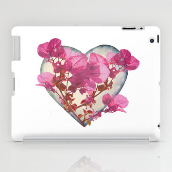 Heart Shaped with Flowers Digital Collage iPad Case by DFLC Prints