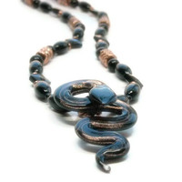 Glass Snake Necklace, Halloween, Black Onyx Gemstone, Copper, Edgy, Serpent, Cobra