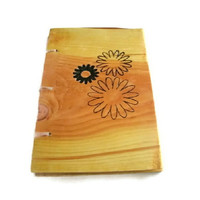Daisy Flower Notebook - Journal Wood Burnt - Custom Cover Work
