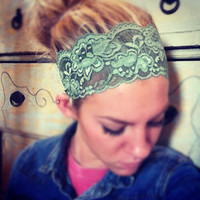 Faded Green- Thick Lace Headband