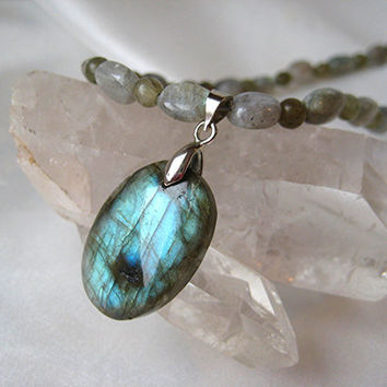 Dainty and elegant, blue Labradorite & silver necklace. Top color Labradorite pendant. Gray with blue flash jewelry.