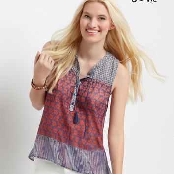Aeropostale  Lorimer Sheer Sleeveless Hi-Lo Peasant Top