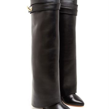 Shark Lock Knee-high Leather Wedge Boots - GIVENCHY