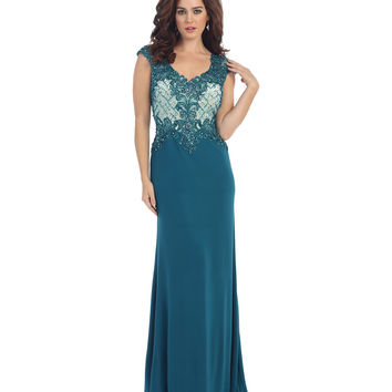 Teal Sheer Lace Beaded Dress Prom 2015