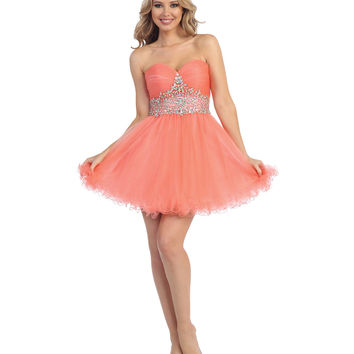 Preorder - Coral Beaded Sweetheart Chiffon Dress Prom 2015