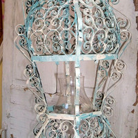 Vintage shabby scroll work candle lantern blue and white rusty metal farmhouse home decor ooak Anita Spero