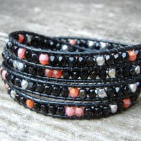 Beaded Leather 4 Wrap Bracelet with Black Pink and Silver Czech Glass Beads on Black Leather CUSTOMIZE YOUR COLORS
