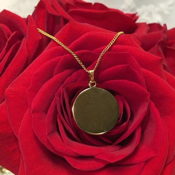 Vintage Signet Ready to be Engraved Gold Tone Circle Pendant Necklace - Mod - Personalize It
