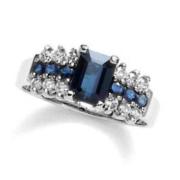 Rectangular Sapphire and 1/4 CT. T.W. Diamond Ring in 10K White Gold