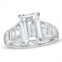 Emerald-Cut Lab-Created White Sapphire Ring in Sterling Silver - Size 7