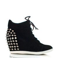 studded-lace-up-wedge-sneakers BLACK COBALT RED TAUPE TEAL - GoJane.com