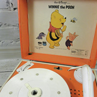 Vintage Childrens Record Player Winnie The Pooh 1950s Electric Phonogragh Two Speed