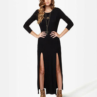 Sexy Maxi Dress - Black Dress - Backless Dress - Long Sleeve Dress - $42.00