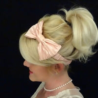 Romantic blush pink bow stretch headband pinup/feminine/silk
