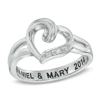 Diamond Accent Heart Promise Ring in Sterling Silver (18 Characters)
