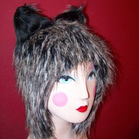 Black Grey Fur Wolf  Spirit Aviator Animal Ears Hat by Doriumlux