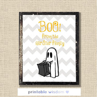 Halloween Printable, custom art digital family print wall decor poster, ghost chevron personalized