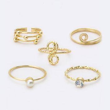 Hava Ring Set- Gold - One