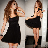 Women Backless Pleated Chiffon Black Party Dresses 1565