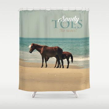Sandy Toes, No Woes Shower Curtain by RDelean