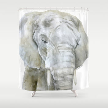 Elephant Watercolor Painting - African Animal Shower Curtain by Susan Windsor