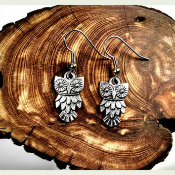 Handmade, Hypoallergenic Earrings, Owl Earrings, Surgical Steel, Earrings, Owl, Owls, Hedwig, Harry Potter, Larp, Jewelry, Athena, Silver