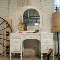 Painted Cottage Chic Shabby White Romantic Vanity VAN246