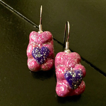 Glitter Gummy Bear Earrings with heart made with Sculpey clay