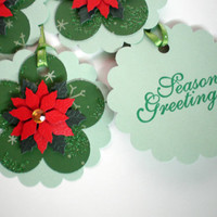 Gift Tags (Green) - Poinsetta